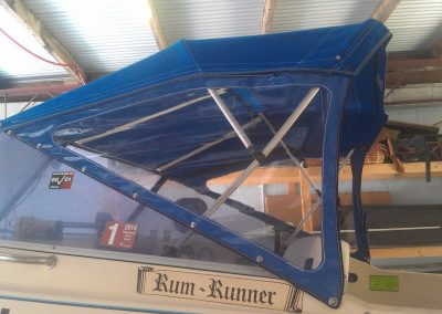 Boat bimini and side curtains custom Sunshine Coast blue