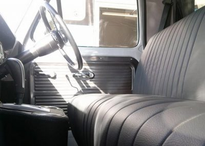 Ford F100 custom interior in charcoal leather