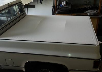 White custom clip on tonneau chevy style side Sunshine Coast